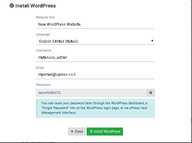Fill in details in installing new WordPress