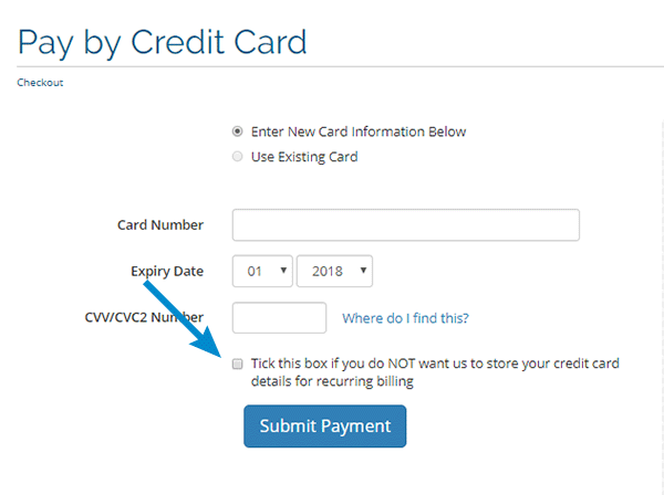 Failure to save credit information in the system